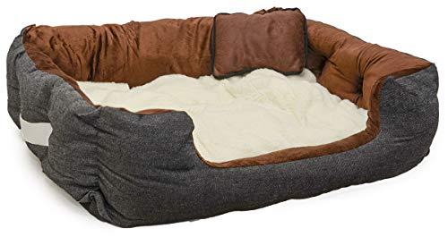EYEPOWER Katzenbett Hundebett 70x60x18 cm Katzenkissen Hundekissen Waschbar Tierkissen Tierbett Innenkissen Braun-Weiß