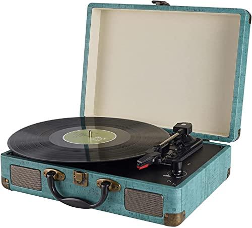 Giradischi Vinile, 3 Velocità (33 1 3, 45 E 78 Giri) stereo Portatile Giradischi, con Altoparlanti Incorporati, Bluetooth, 3.5mm AUX-IN E Jack per Cuffie, Linea RCA