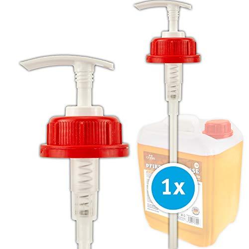 C.P. Sports Dosierpumpe, Dosierspender - für 500 ml, 1000 ml / 1 Liter, 5 Liter Flasche, Kanister, Flaschen Mineralgetränk, lebensmittelecht, 1-10 Pumpen (1 - Stück, 45mm - Gewinde - Kanister)