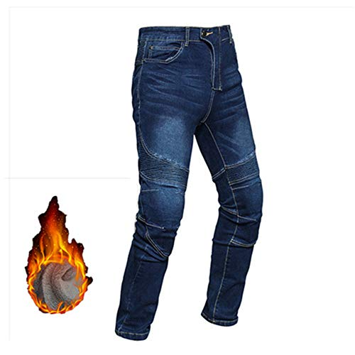 Heren Motorfiets Riding Jeans, Verdikt Winddicht Warm Locomotief Anti-val Broek - Plus Fluwelen Koude Racing Broek Winter M Blauw