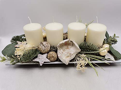 Weihnachtsgesteck Adventsgesteck Wintergesteck Kerzen Kugeln Sterne Tanne creme