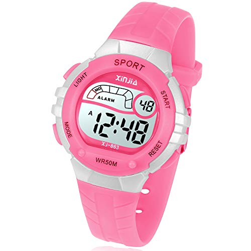 Reloj Digital para Niña Niño,Chicos Chicas 50M(5ATM) Impermeabl Deportes al Aire Libre LED Multifuncionales Relojes de Pulsera con Alarma para Niños,Niñas,Estudiantes (Rosa)