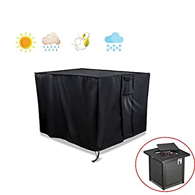 POMER Gas Fire Pit Cover Square - 28x28x25inch Waterproof Heavy Duty Fabric Premium Patio Cover for TACKLIFE GFP01 Firepit