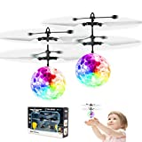 2 Pack Flying Ball Toys, Rechargeable Ball Drone Light Up RC Toy for Kids Boys Girls Gifts, Infrared Induction Helicopter with Remote...