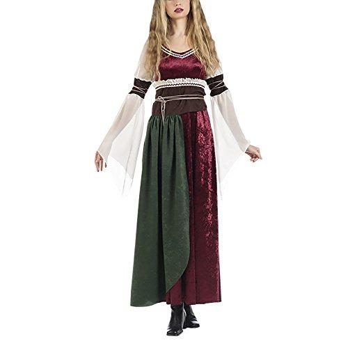 Elbenwald Mittelalter Damen Kostüm Kleid mit Schärpe Prinzessin Xena 2-TLG. rot weiß braun - M