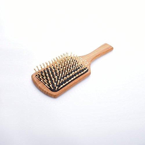 Peigne Poignée en Bambou Dents Ronds Brosse à Cheveux Massage Humain Coussin Noir