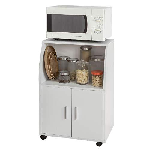 SoBuy®Aparador Auxiliar bajo de Cocina para microondas,con 2 Puertas y 1 Estante,L55 cm x P38 cm x H84 cm,FRG241-W,ES