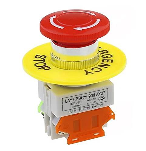 LGFCOK Interruptor de botón de Parada de Emergencia AC 660V 10A Equipo de Interruptor Elevador Ascensor Latching Auto Bloqueo Rojo Setas