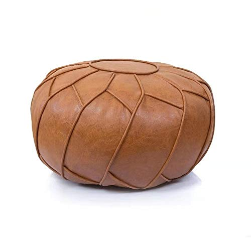 Moderner Faux Leather Pouf Unstuffed Ottoman Moroccan Footstool, Floor Footrest Cushion, Storage Solution - Natural Brown Color (Brown, 23x11)