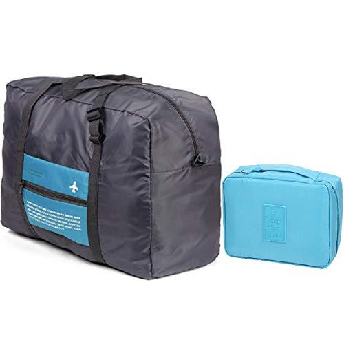 Zliger 2 Pezzo Borsone da Viaggio Pieghevole,Grande capacità Duffel Bag leggero Borsoni da Palestra per Uomo e Donna Campeggio Viaggio