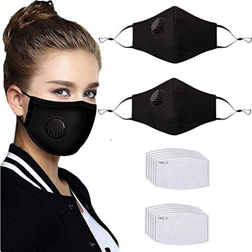 2 Pcs Adult Unisex Reusable Washable Adjustable Face Protection with Breathing Valve and Nose Wire Breathable Cotton Dust Cloth with 10Pcs Replacement Carbon Filters for Man and Women(Black)