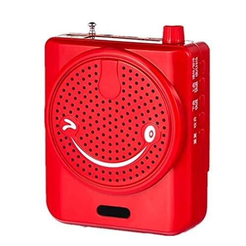 Adesign Altavoz Bluetooth, Amplificador de Voz Sistema PA portátil con micrófono de Alambre, Sistema de Sonido de Altavoz PA para Clase, Karaoke, Fiesta, reunión (Color : Red)