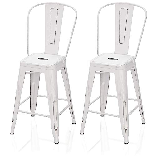 "VIPEK 24"" Counter Height Bar Stools Commercial Grade Patio Bar Chairs Metal 24 Inches Height Barstool with High Back Side Dining Chairs for Bistro Pub Cafe Kitchen, Set of 2, Distressed White"