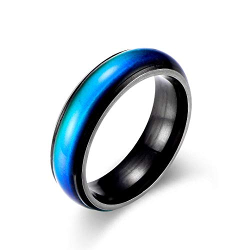Ello Elli 6MM Color Changing Stainless Steel Mood Ring (Black, 6)