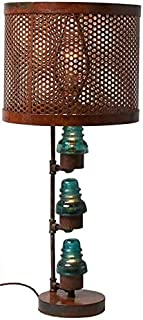 EuroLuxHome Upcycled Table Lamp Vintage Glass Telegraph Insulator Lights Clear/Blue Metal