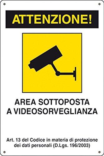 takestop Cartello attenzione Area sottoposta a videosorveglianza SEGNALETICA DIREZIONALE Sicurezza Avvertimento PLASTIFICATO