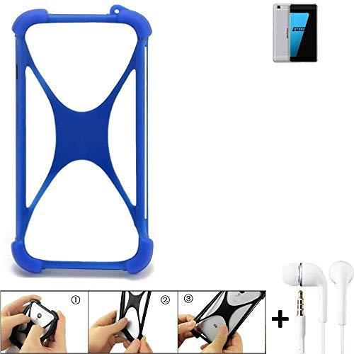 K-S-Trade® Bumper Für Ulefone Future Schutzhülle Handyhülle Silikon Schutz Hülle Cover Case Silikoncase Silikonbumper TPU Softcase Smartphone, Blau (1x), Headphones