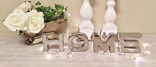 DRULINE HOME Schriftzug Buchstaben in Shabby Look (Silber) 10 cm x 11 cm x 2,5 cm