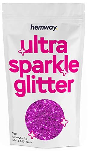 """Hemway   Ultra Étincelle Glitter Glitter EXTRA GROSSE 1/24"""" 0.040"""" 1mm 1000mic [100 g, Rose Rose]"""
