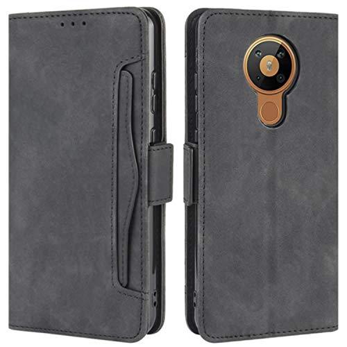 HualuBro Handyhülle für Nokia 5.3 Hülle Leder, Flip Hülle Cover Stoßfest Klapphülle Handytasche Schutzhülle für Nokia 5.3 Tasche (Schwarz)
