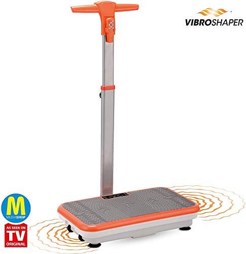 Mediashop VibroShaper – Fitness Vibrationsplatte unterstützt bei Muskelaufbau und Fettverbrennung – Vibrationstrainer für alle Muskelgruppen – inklusive Fitnessbänder – orange mit Griff - 4