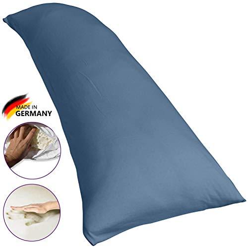 Traumreiter Visco Dream Seitenschläferkissen mit extra Schon-Bezug tauben-blau 140x50 I Körperkissen I Seitenkissen