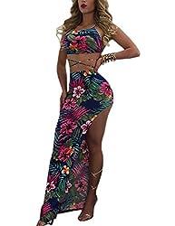 f6de476b46 Luluka Women's Floral Print Off Shoulder Crop Top and Maxi Skirt Set 2  Pieces Outfit Boho Dress