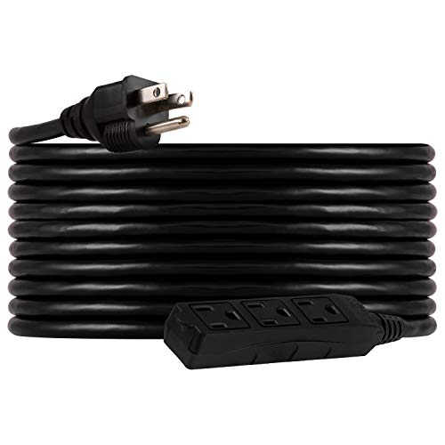 UltraPro, Black, GE 25 ft Extension, 3 Outlet, Heavy Duty, Indoor/Outdoor, Grounded, Double Insulated Cord, UL Listed, 36825