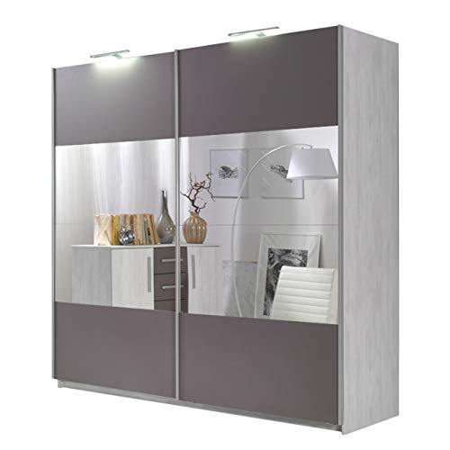 Kleiderschrank Dione 04 mit Spiegel, Schlafzimmerschrank 2 Kleiderstangen, Elegantes Schwebetürenschrank für Schlafzimmer, Jugendzimmer,...