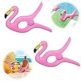 Flamingo Toalla Clips Gran novedad Tumbona Playa Pegs Ropa de lavandería pesada Tumbona Tumbona para silla de vacaciones Piscina Paquete de 2