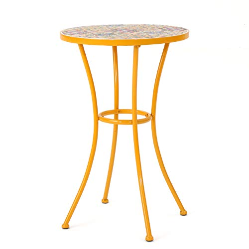 Christopher Knight Home Barnsfield Outdoor Ceramic Tile Side Table with Iron Frame, Yellow