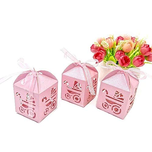 JZK 48 x Rosa Carrozzina Scatola portaconfetti scatolina bomboniara segnaposto per Festa Battesimo Nascita Comunione Compleanno Bimba Bambina Femminile