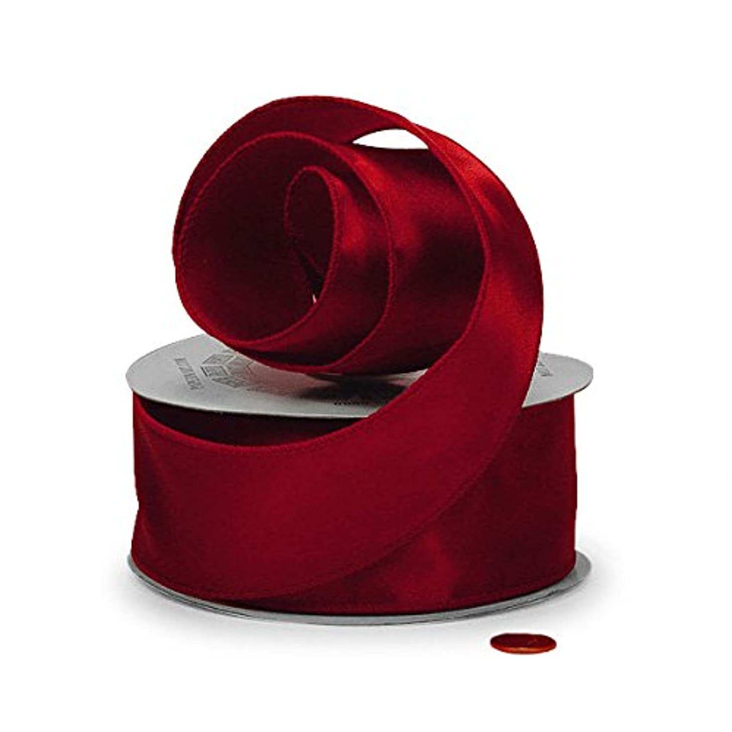 Red Satin Wired Ribbon 1 1/2
