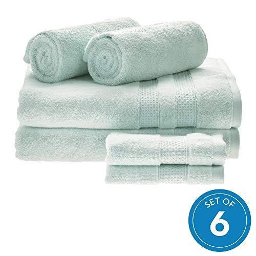 iDesign set van 6 badkamertextiel voor de badkamer of gastentoilet, zachte handdoekenset van 100% katoen, handdoekenset met 2 handdoeken, badhanddoeken en washandjes, lichtblauw