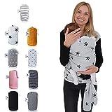 Fastique Kids® Tragetuch - elastisches Babytragetuch für Früh- und Neugeborene inkl. Baby Wrap Carrier Anleitung (Sternchen)