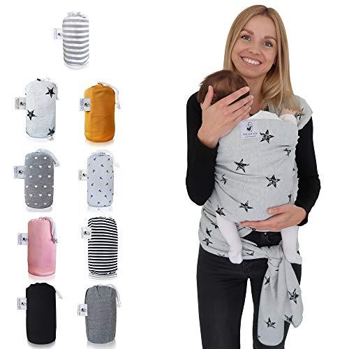 Fastique Kids® - Pañuelo portabebés elástico para bebés prematuros y recién nacidos, incluye instrucciones de uso (idioma español no garantizado) Estrellas Talla:5,2m x 0,55m