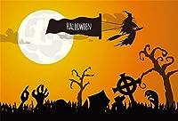 Qinunipoto 背景布 ハロウィン happy halloween 夜 丸い月 枯れ木 エルフ cosplay背景 子供用 写真の背景 背景幕 写真スタジオ 写真 写真ツール 撮影用 写真撮影用 写真館 無反射布 ビニール 1.5x1m