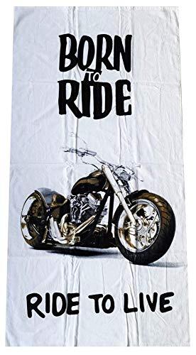 Jerry Fabrics Toalla JF con Motivo Moto Born to Ride - Ride to Live, Toalla de Playa tamaño 70 x 140 cm para niños y Adultos, 100% algodón