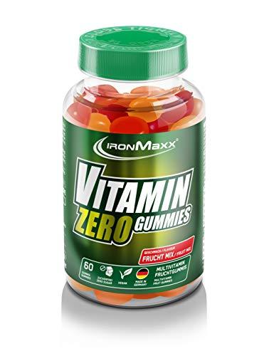 IronMaxx Vitamin Vegan Zero Gummies - 60 Stück - Frucht Mix - Gummibärchen mit 9 Vitaminen - Zuckerfrei und Fettfrei - Süßigkeit für Ernährungsbewusste - Designed in Germany