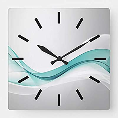 Amazon Com Tattyakoushi 15 By 15 Inch Wall Clock Teal Wave Abstract Wall Clock Living Room Clock Home Decor Clock Home Kitchen