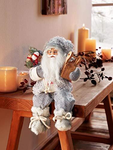 Dekofigur Weihnachtsmann sitzend mit Geschenkesack und Schlitten 30 cm groß Kantenhocker für Weihnachten Weihnachtsdeko Weihnachtsgeschenkidee Santa Claus Nikolaus