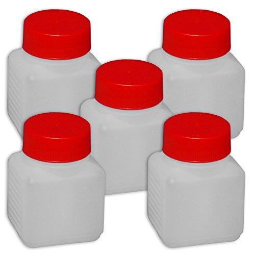 Wilai 5 x 100 ml Plastikflasche Weithalsflasche mit Deckel Behälter PE-Flasche lebensmittelecht ***Ideal zum Abfüllen von Kosmetikprodukten***