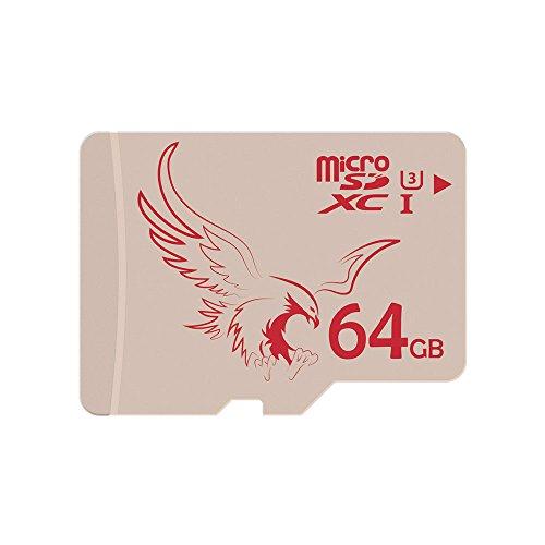 BRAVEEAGLE Carte Micro SD 64Go U3 mémoire microSDXC UHS-I pour Dash cam Caméra(64Go UHS-I 3)