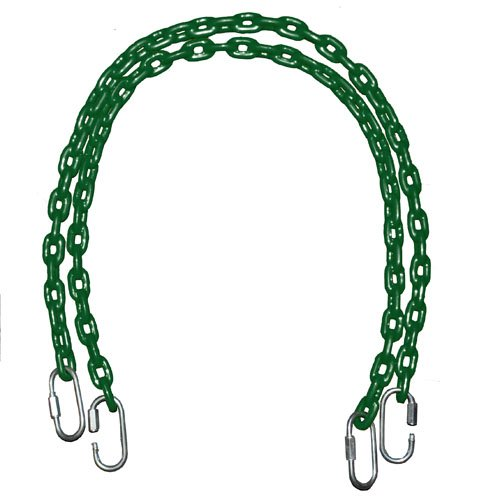 Playkids (2) 85' Fully Coated Chains + 4 Free Quick Links - Green (Water-Resistant)