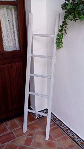BUSCOCARPINTERO Escalera Decorativa Vintage 150 CM X 37CM Retro Recta Madera Envejecida TOALLERO Zapatero Decorativa 5 PELDAÑOS Blanca Rustica