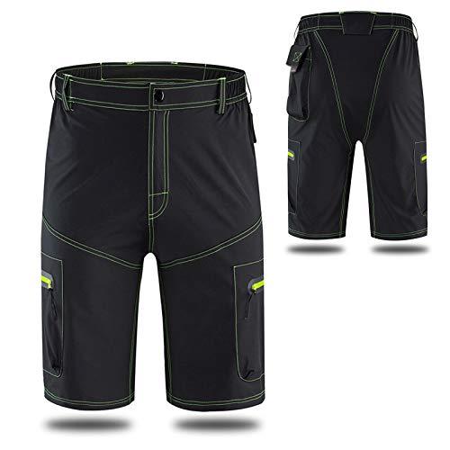 Pantalones Cortos De MTB para Hombres,Pantalones Cortos De Ciclismo para Bicicletas Secado Rápido Transpirables Sueltos,para Ciclismo De Montaña Deporte Exteriores(Size:XL,Color:Negro)