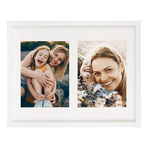 BD ART 28 x 35 cm Mehrfach Bilderrahmen, Bildergalerie, Fotogalerie mit Passepartout und 2 Foto-Ausschnitten für Fotos 15 x 20 cm, Weiß