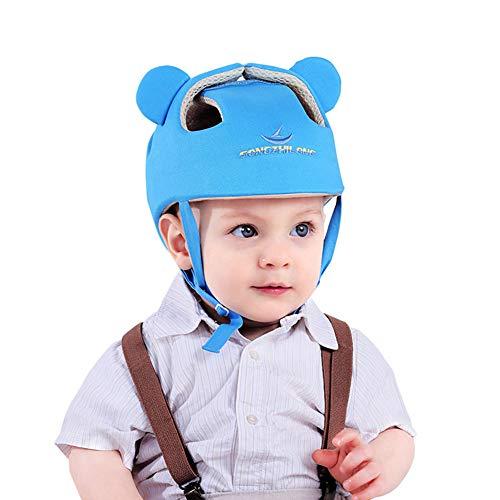 Casco de seguridad ajustable para bebé Protector para la cabeza Arnés de protección Sombrero Proporciona un entorno más seguro al aprender a gatear Jugar a pie (Azul)