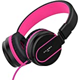 AILIHEN I35 Kid Headphones with Microphone Volume Limited 85dB Children Girls Boys Teen Lightweight Foldable Wired Headset for School Online Course Chromebook Cellphones Tablets (Black Purple)