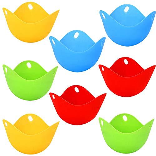 WENTS 8 Stück Eier-Pochierer,Silikon Wildern Pods, Perfekt pochierten Eiern,für Topf, Pfanne, Mikrowelle, und perfekte pochiert Eier